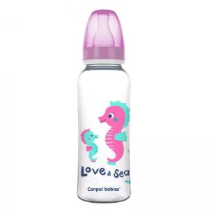 Шише за хранене Canpol babies, Love & Sea, 12м+, 250 мл., розово